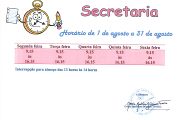 horario secretaria - agosto